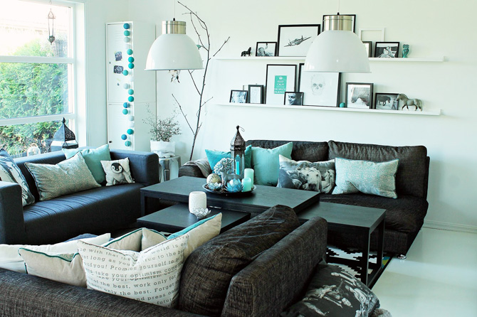 3d Area Rugs Obývák ve skandinávském stylu s tyrkysovými doplňky ...
