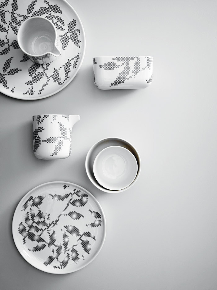 Kopeck porcelánu Leaves od Menu