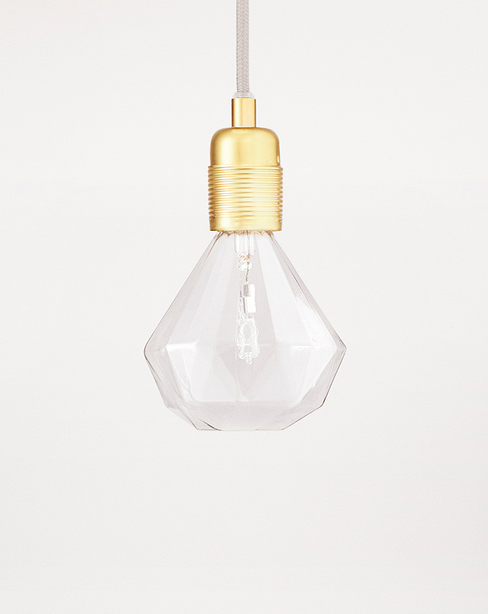 E27 Pendant, Brass + Diamond Lights