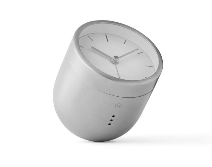 Tumbler Alarm Clock, Brushed Steel