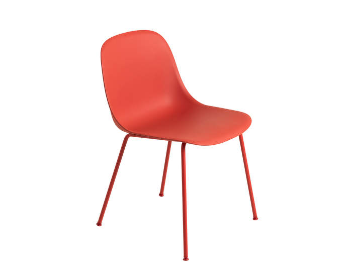 Židle Fiber Side Chair, kovová podnož, Dusty Red