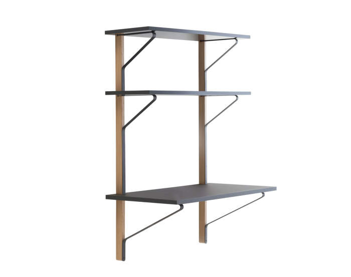Policový systém Kaari Wall Shelf with Desk, black oak