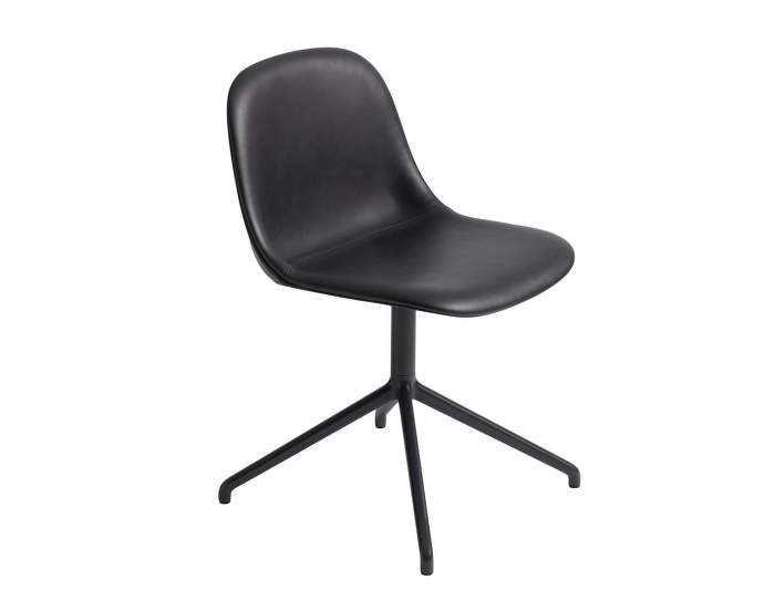 Fiber Side Leather Chair Swivel, black