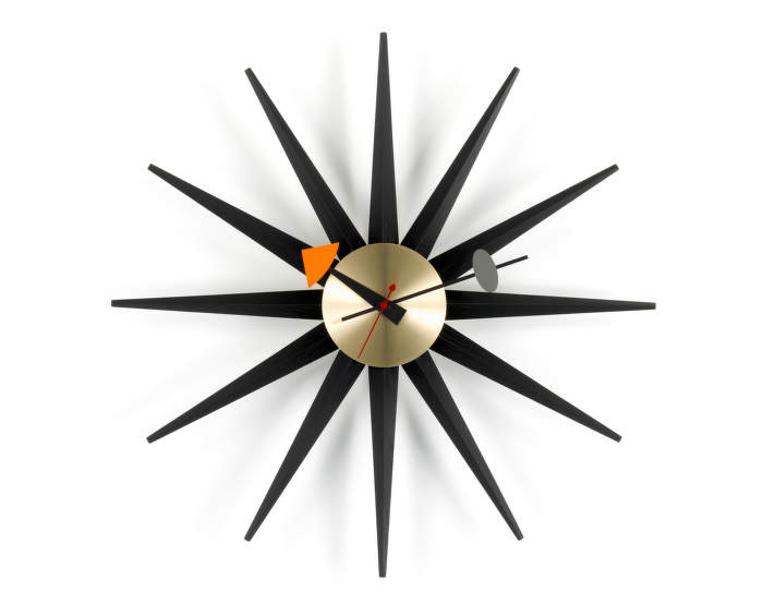 Hodiny Vitra Sunburst Clock, black/brass