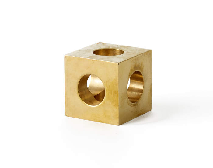Cube Candle Holder, Brass