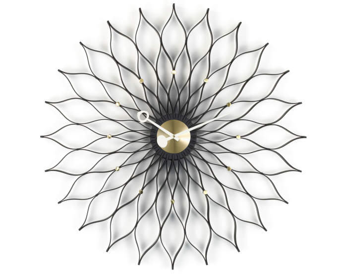 Hodiny Vitra Sunflower, black ash/brass