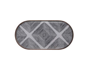 Tác Glass Tray Oblong, Slate Linear Squares