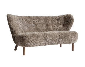 Sofa Little Petra VB2, walnut / sheepskin Sahara