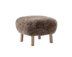 Pouf Little Petra ATD1, oak / Sheepskin Sahara