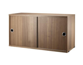 Komoda String Cabinet With Sliding Doors 78 x 30, walnut