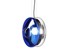 Závěsná lampa Orbital, blue/polished nickel