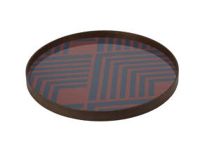 Tác Glass Tray Round L, midnight chevron