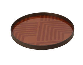 Tác Glass Tray Round L, orange chevron