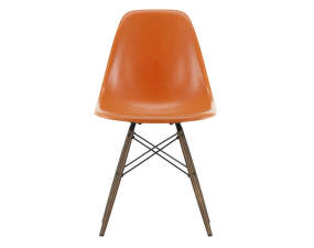 Židle Eames Fiberglass DSW, red orange/dark maple