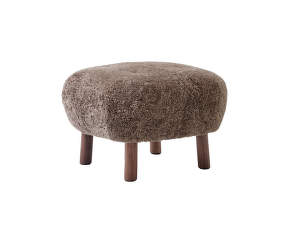 Pouf Little Petra ATD1, walnut / Sheepskin Sahara