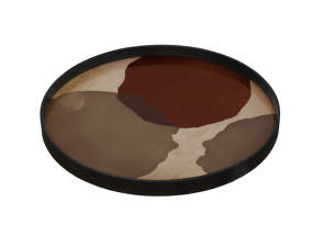 Tác Glass Tray Round L, overlapping dots