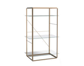 Policová sestava Florence Shelf Medium, raw gold frame / clear glass shelves