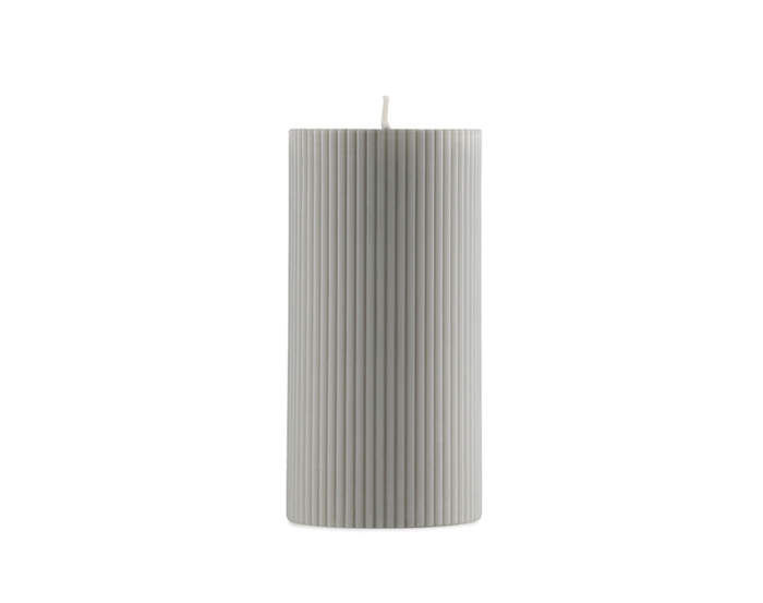 Svíčka Grooved Block Candle, grey