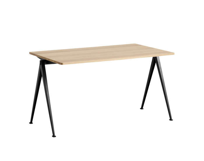 Pyramid Table 01, 140 x 75 x 74cm, black powder coated steel / matt lacquered solid oak