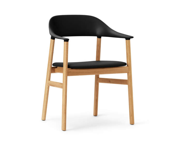 Židle Herit Armchair Oak Leather, black