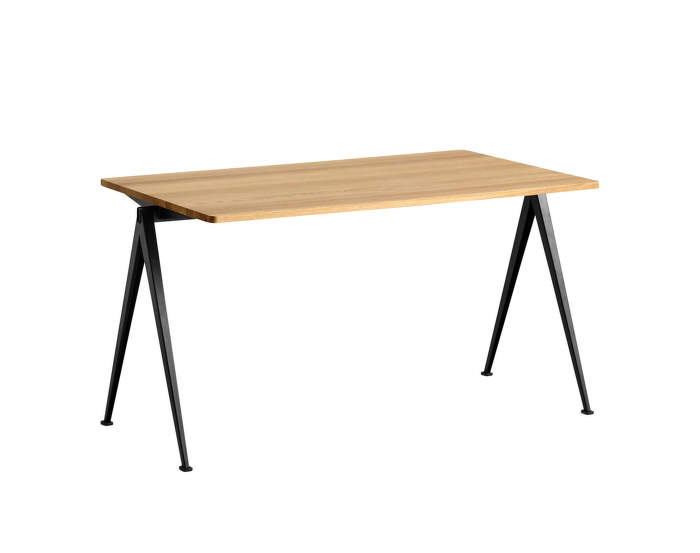 Pyramid Table 01, 140 x 75 x 74cm, black powder coated steel / clear lacquered solid oak