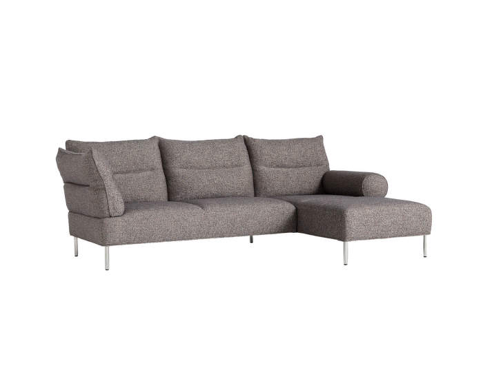 Pandarine 3 seater Chaise Longue, mixed armrests, right, Swarm Multi Colour / Chromed Steel
