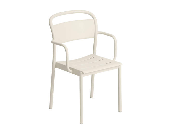 Linear Steel Armchair, off-white