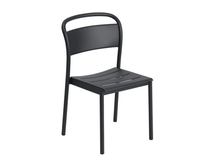 Linear Steel Side Chair, black