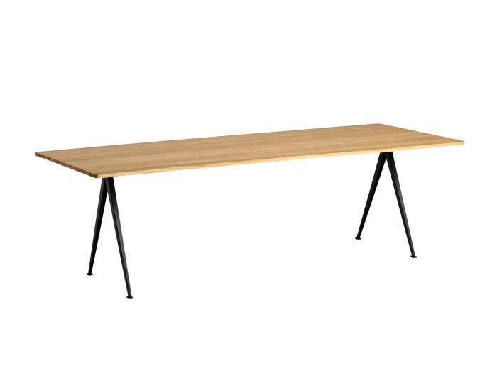 Pyramid Table 02, 250 x 85 x 74 cm, black powder coated steel / clear lacquered solid oak