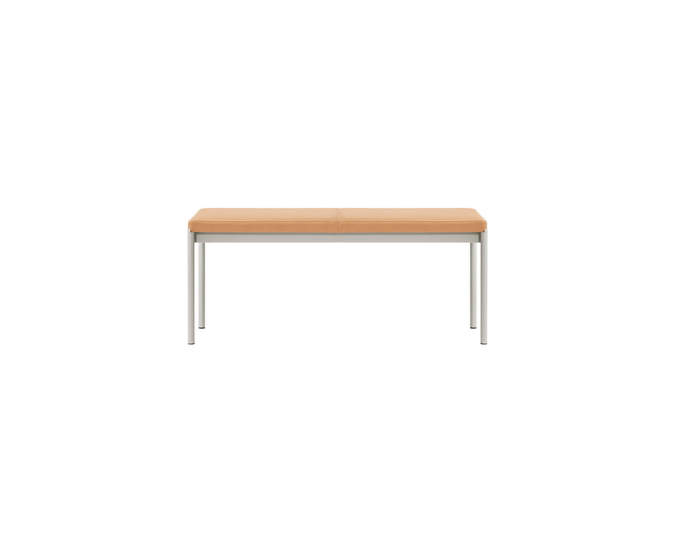 MIES Bench L110, light grey / natural leather