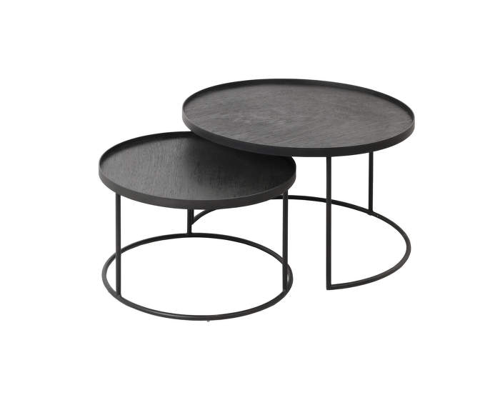 Round tray coffee table set, small / large