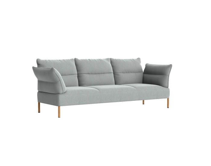 Pandarine 3 seater sofa, reclining armrest, Re-wool 828 / oiled solid oak base