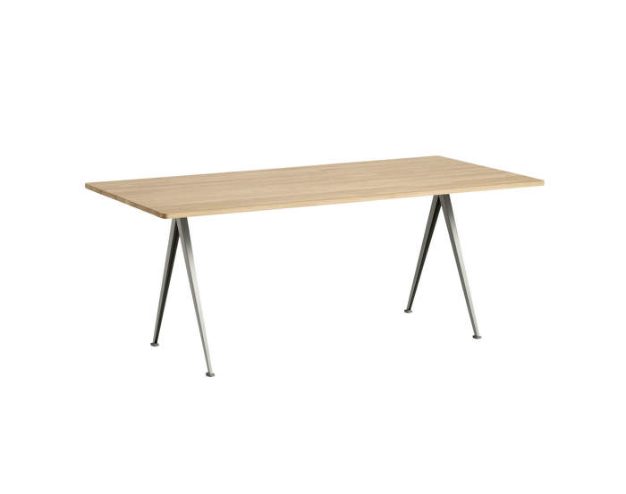 Pyramid Table 02, 190 x 85 x 74 cm, beige powder coated steel / matt lacquered solid oak