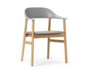 Židle Herit Armchair Oak Leather, grey