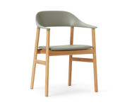 Židle Herit Armchair Oak Leather, dusty green